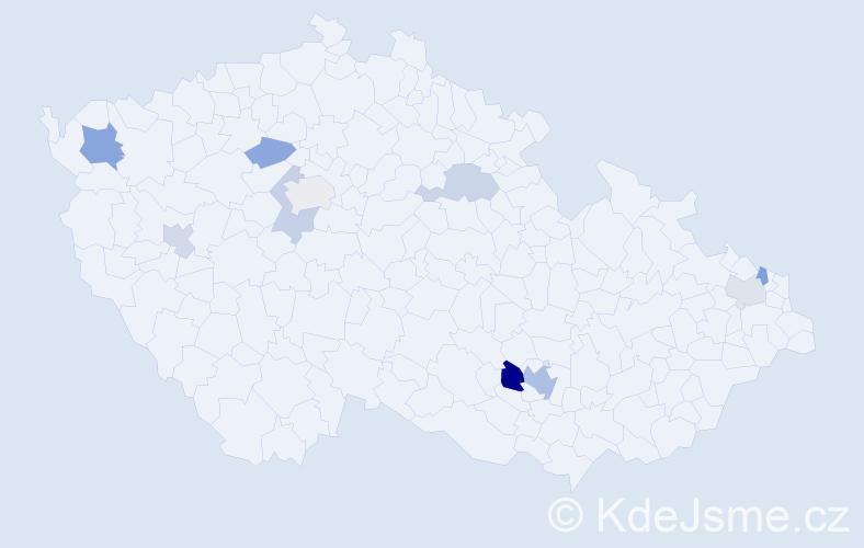 Příjmení: 'Hamrák', počet výskytů 16 v celé ČR