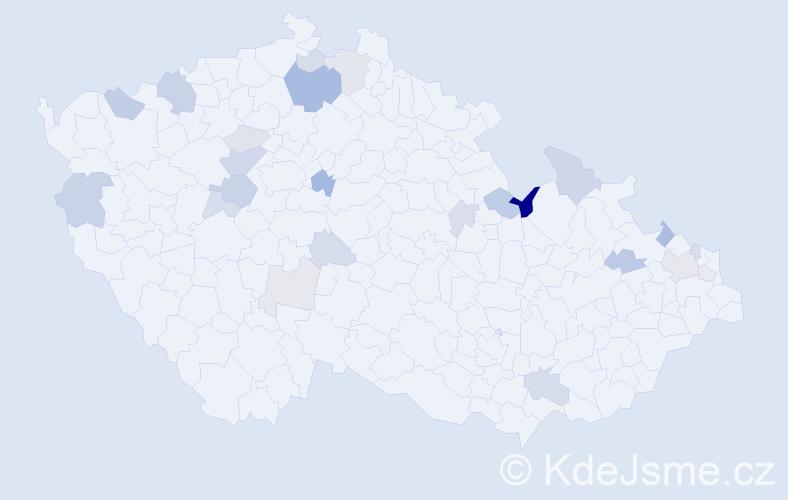 Příjmení: 'Fedorčáková', počet výskytů 52 v celé ČR