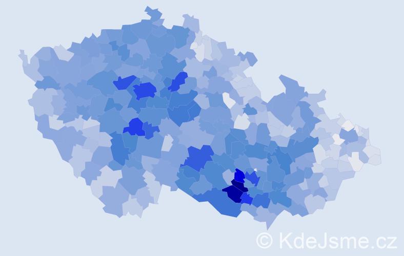Příjmení: 'Procházková', počet výskytů 16729 v celé ČR
