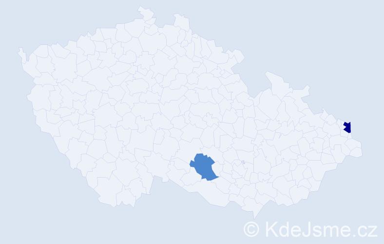 Příjmení: 'Chrien', počet výskytů 9 v celé ČR