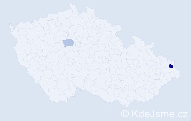 Příjmení: 'Cisarová', počet výskytů 4 v celé ČR