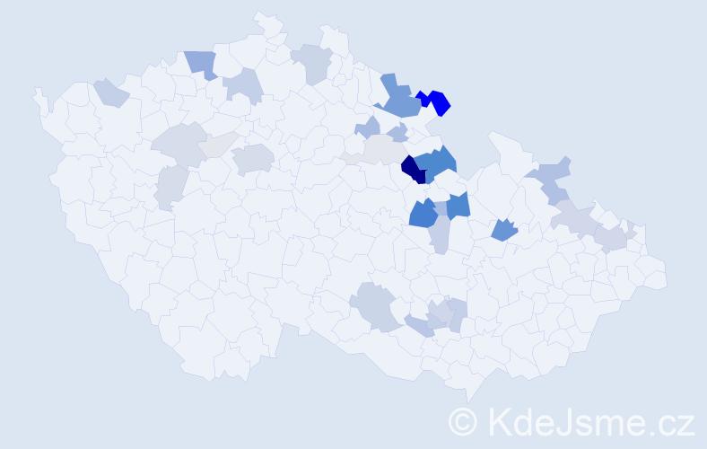 Příjmení: 'Kořízek', počet výskytů 94 v celé ČR