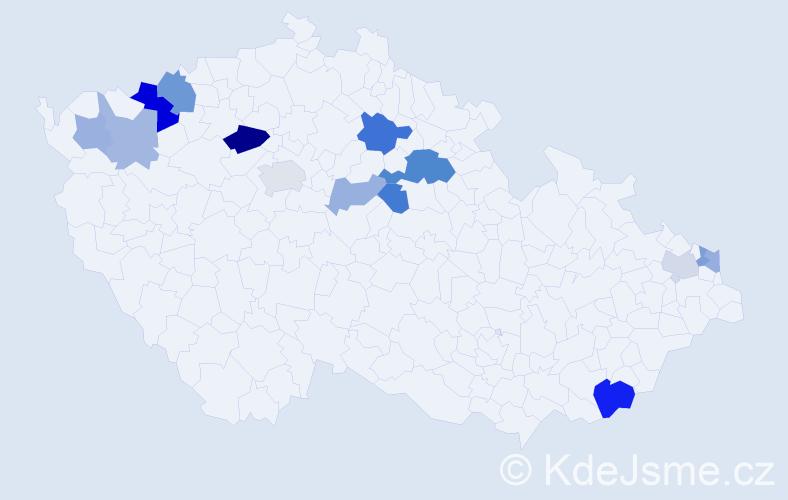 Příjmení: 'Bráborcová', počet výskytů 26 v celé ČR