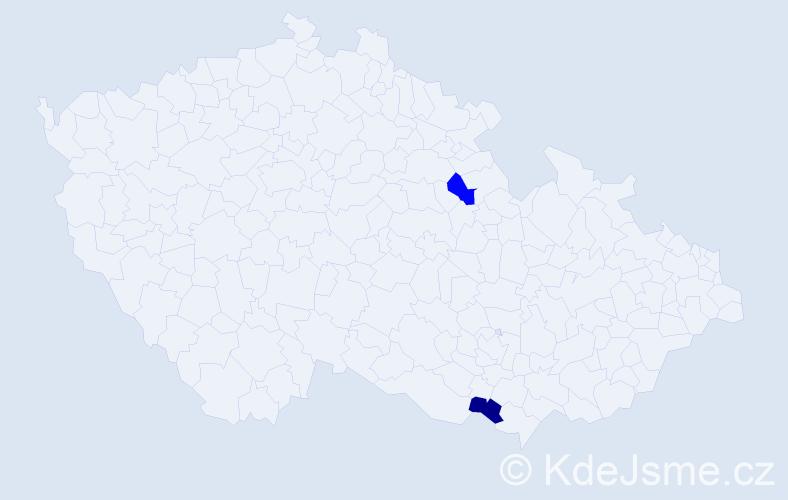Příjmení: 'Galbička', počet výskytů 2 v celé ČR