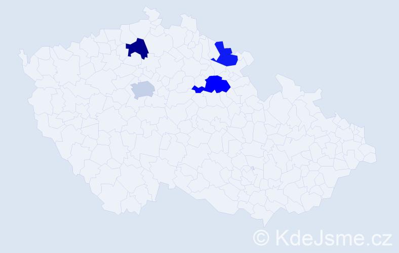 Příjmení: 'Cermánek', počet výskytů 21 v celé ČR