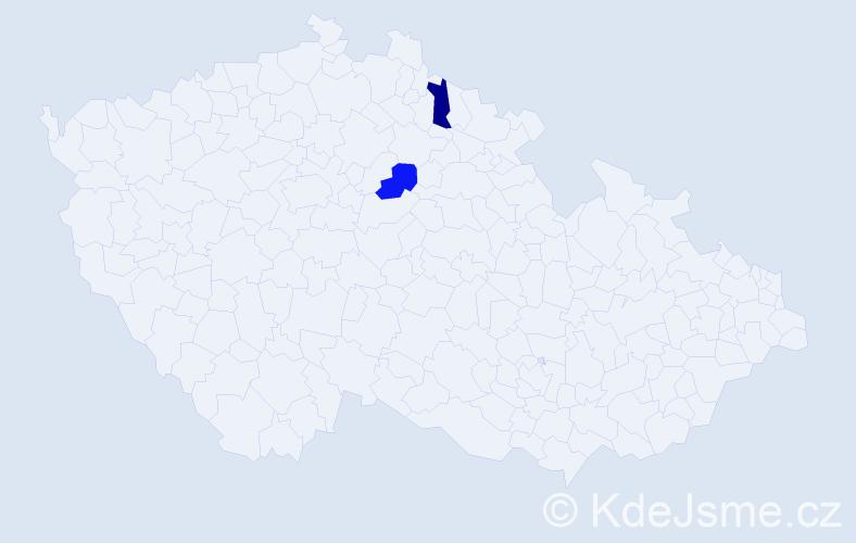 Příjmení: 'Ihrický', počet výskytů 2 v celé ČR