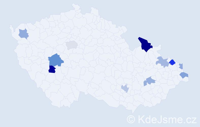 Příjmení: 'Havličková', počet výskytů 17 v celé ČR