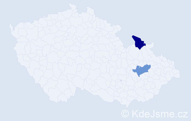 Příjmení: 'Fačevicová', počet výskytů 4 v celé ČR