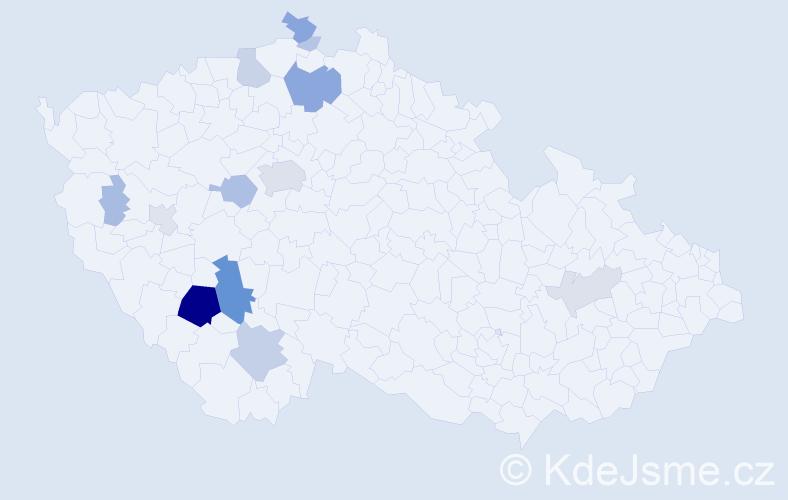 Příjmení: 'Hoštička', počet výskytů 62 v celé ČR