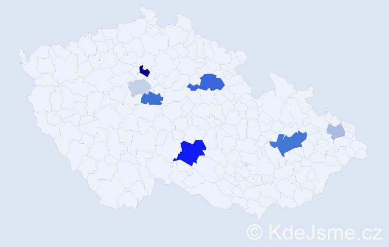 Příjmení: 'Eigel', počet výskytů 11 v celé ČR
