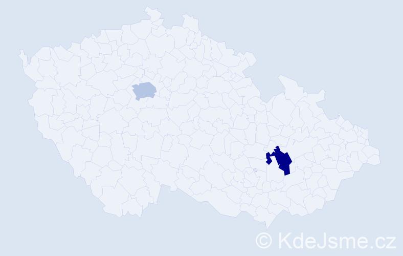"""Příjmení: '""""Dostálová Peštová""""', počet výskytů 2 v celé ČR"""