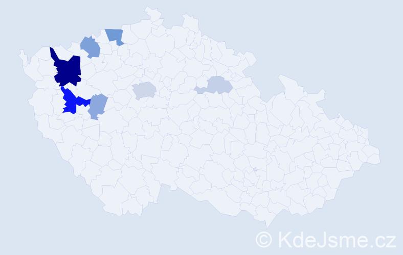 Příjmení: 'Baumgartlová', počet výskytů 24 v celé ČR