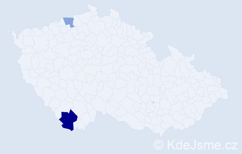 Příjmení: 'Lopaczuk', počet výskytů 3 v celé ČR