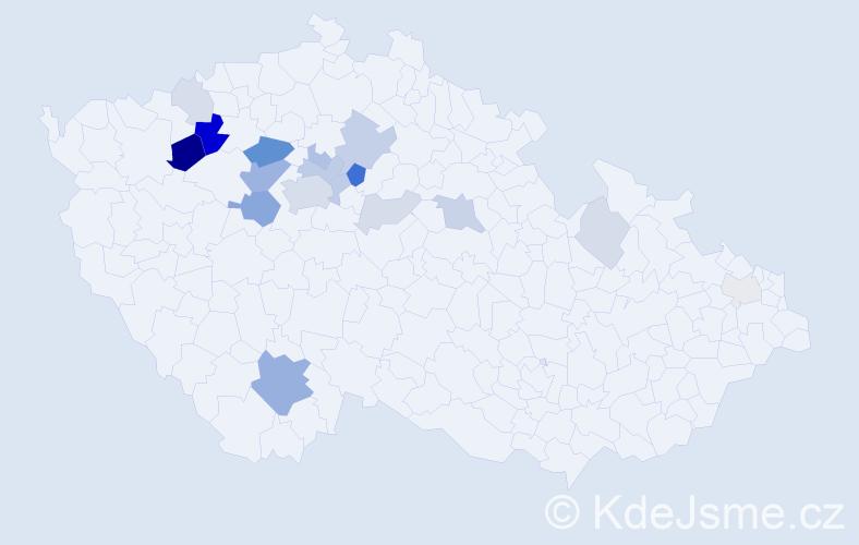 Příjmení: 'Kináč', počet výskytů 49 v celé ČR