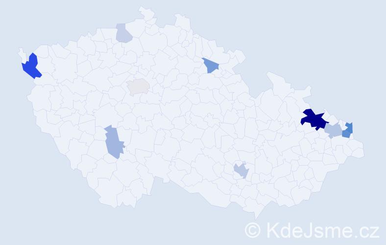 Příjmení: 'Čerevková', počet výskytů 33 v celé ČR