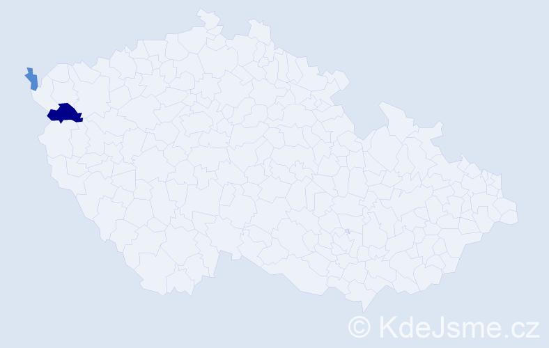 Příjmení: 'Borsiková', počet výskytů 4 v celé ČR