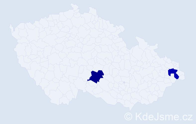 Příjmení: 'Baš', počet výskytů 2 v celé ČR
