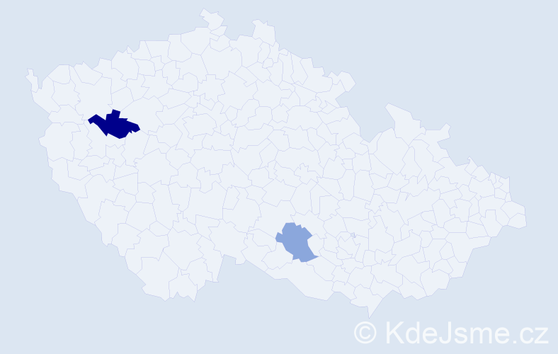 Příjmení: 'Čordáš', počet výskytů 5 v celé ČR