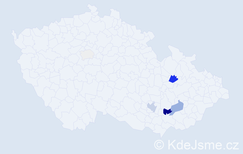 Příjmení: 'Fryčar', počet výskytů 17 v celé ČR