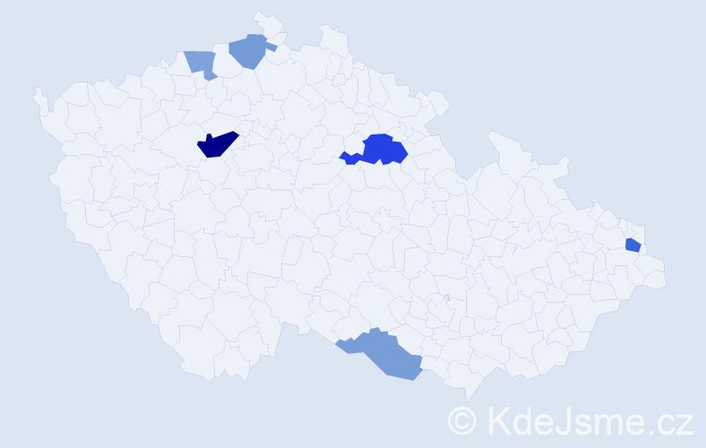 Příjmení: 'Hojdíková', počet výskytů 12 v celé ČR