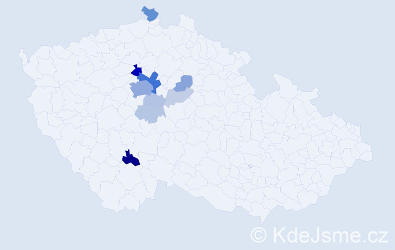 Příjmení: 'Dobš', počet výskytů 37 v celé ČR