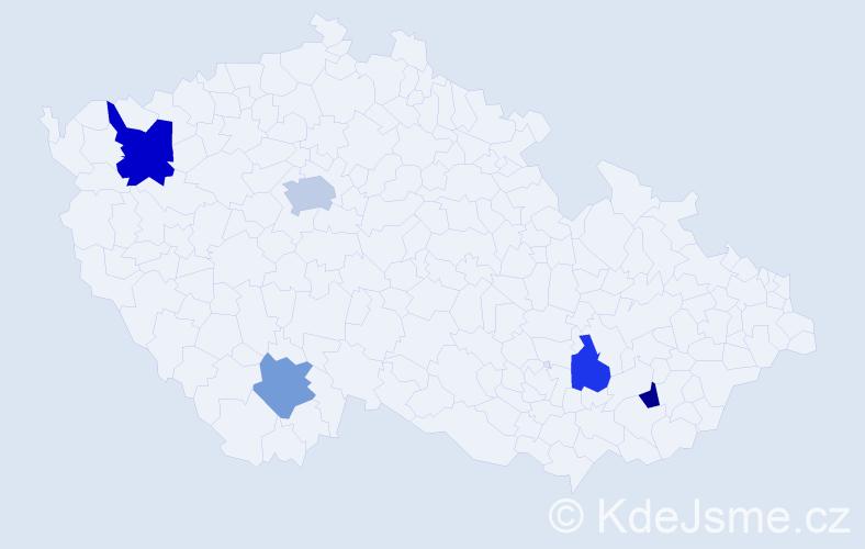 Příjmení: 'Bain', počet výskytů 7 v celé ČR