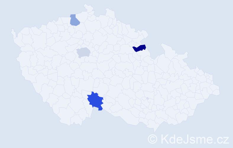 Příjmení: 'Kačeňáková', počet výskytů 12 v celé ČR