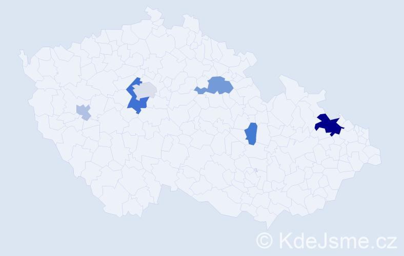 Příjmení: 'Cvanciger', počet výskytů 14 v celé ČR