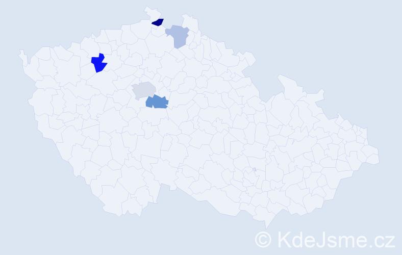 Příjmení: 'Klocperk', počet výskytů 16 v celé ČR