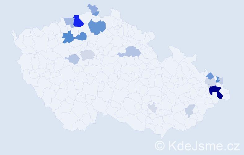Příjmení: 'Hrtánek', počet výskytů 56 v celé ČR