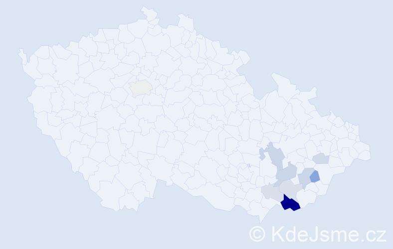 Příjmení: 'Hlahůlek', počet výskytů 58 v celé ČR