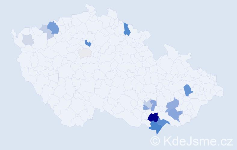Příjmení: 'Kostrhunová', počet výskytů 55 v celé ČR