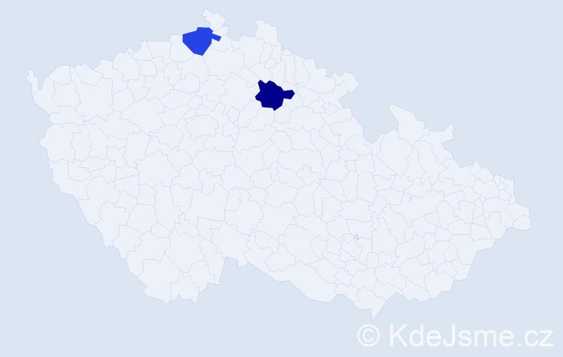 Příjmení: 'Elebrantová', počet výskytů 2 v celé ČR