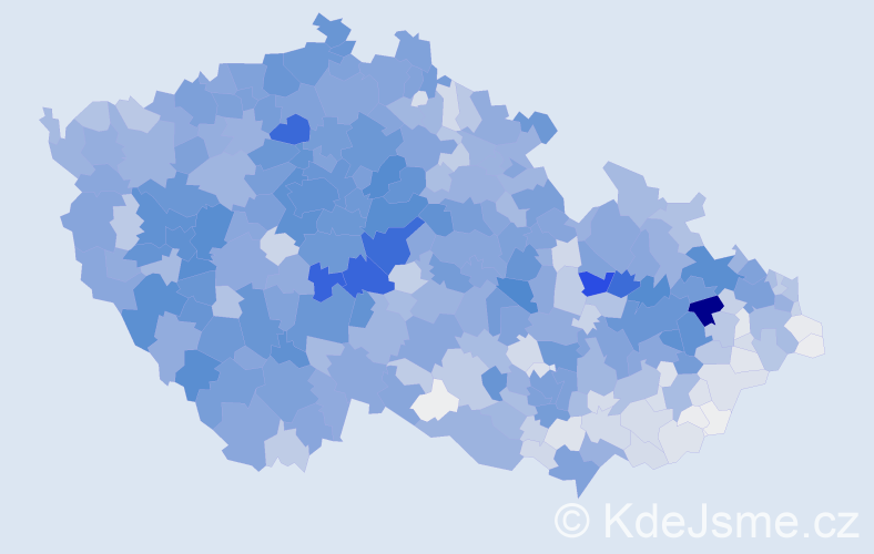 Příjmení: 'Král', počet výskytů 10011 v celé ČR