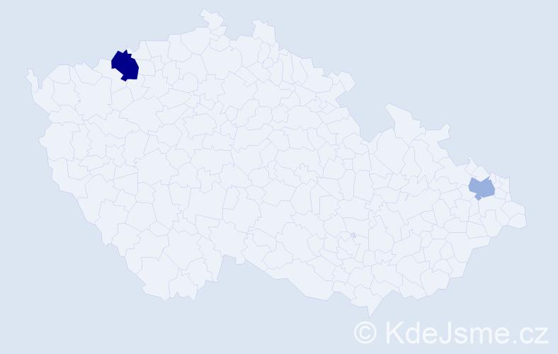 Příjmení: 'Kalis', počet výskytů 3 v celé ČR