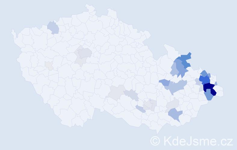 Příjmení: 'Klega', počet výskytů 155 v celé ČR