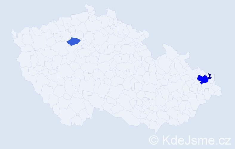 Příjmení: 'Drevenka', počet výskytů 10 v celé ČR