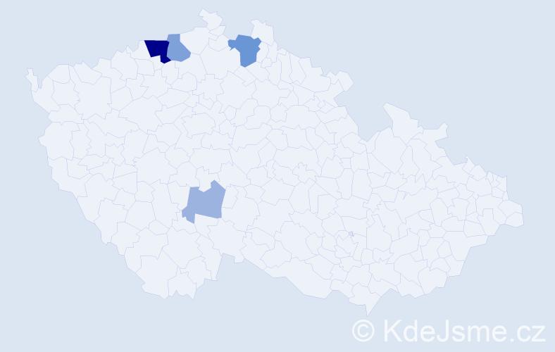 Příjmení: 'Bacilová', počet výskytů 13 v celé ČR