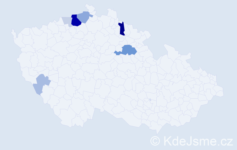 Příjmení: 'Kava', počet výskytů 24 v celé ČR