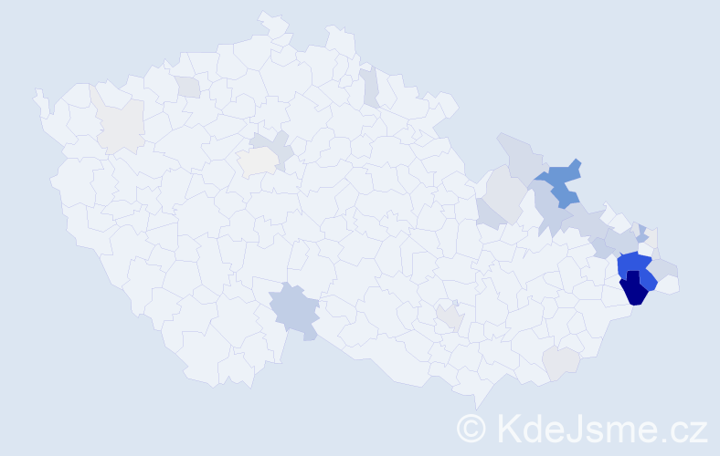 Příjmení: 'Gřundělová', počet výskytů 139 v celé ČR