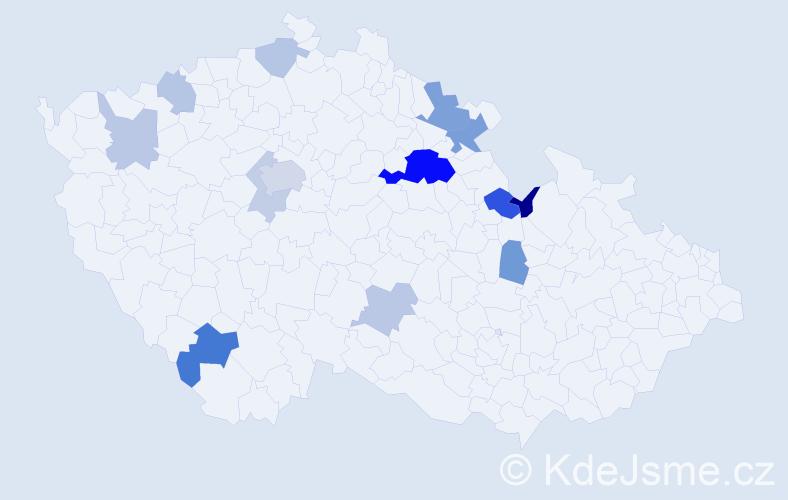 Příjmení: 'Halounek', počet výskytů 29 v celé ČR