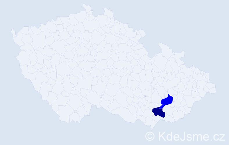Příjmení: 'Houščavová', počet výskytů 2 v celé ČR