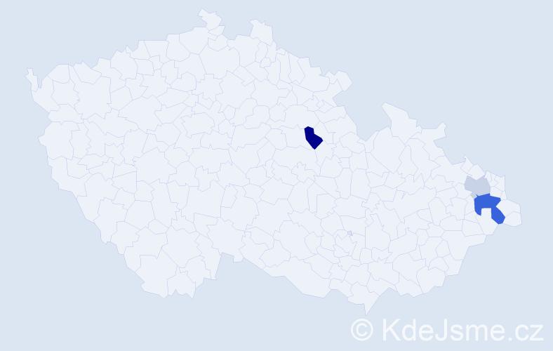 Příjmení: 'Kůl', počet výskytů 5 v celé ČR