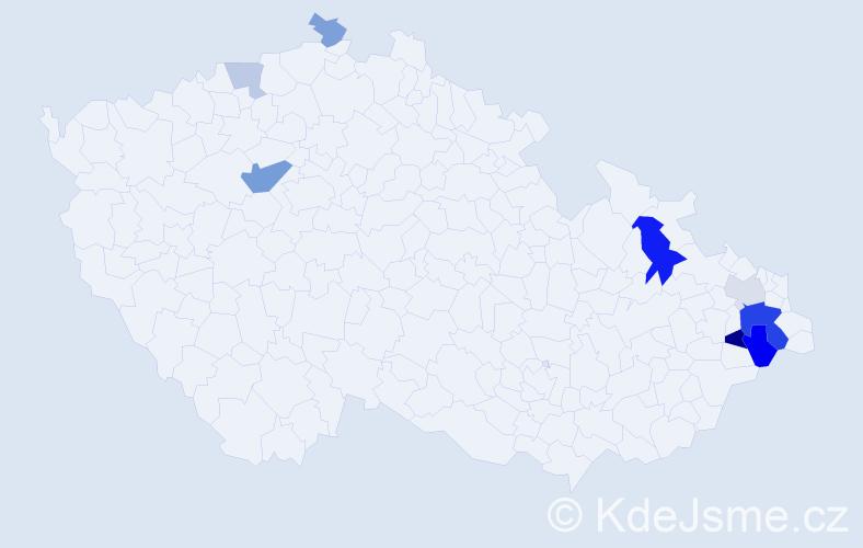Příjmení: 'Kašoková', počet výskytů 19 v celé ČR