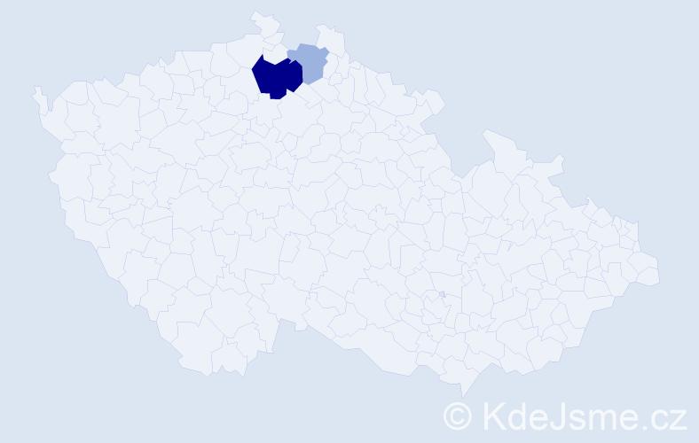 Příjmení: 'Čemeryšová', počet výskytů 5 v celé ČR