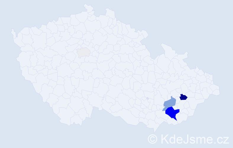 Příjmení: 'Koudelníčková', počet výskytů 13 v celé ČR