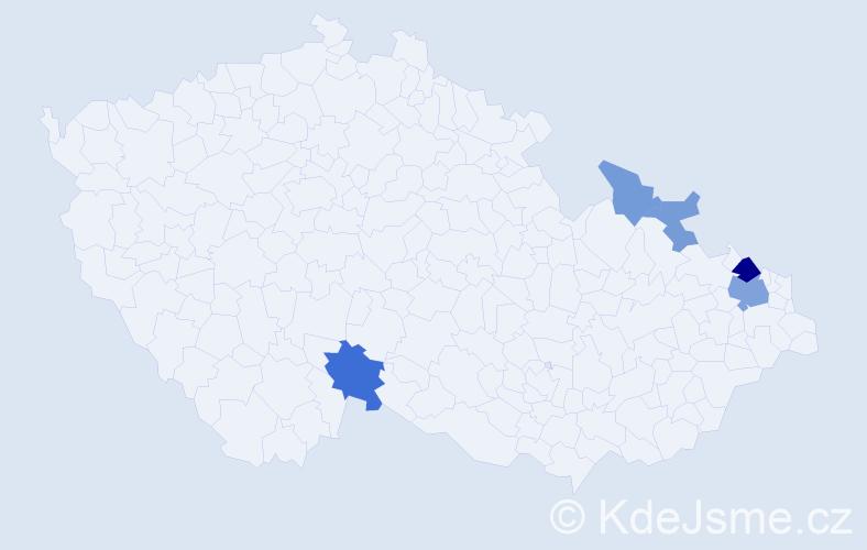 Příjmení: 'Čanko', počet výskytů 11 v celé ČR