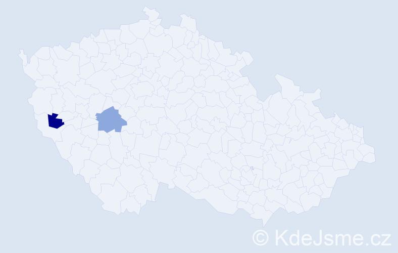 """Příjmení: '""""Ježková Vančurová""""', počet výskytů 2 v celé ČR"""