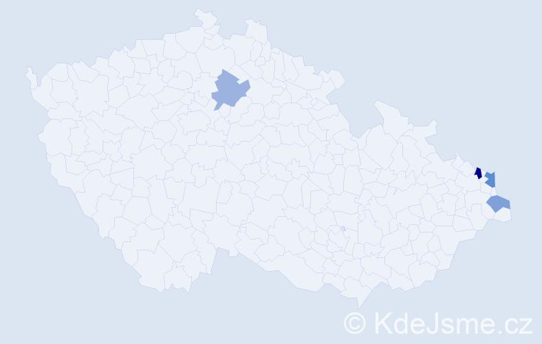 Příjmení: 'Izsóová', počet výskytů 6 v celé ČR