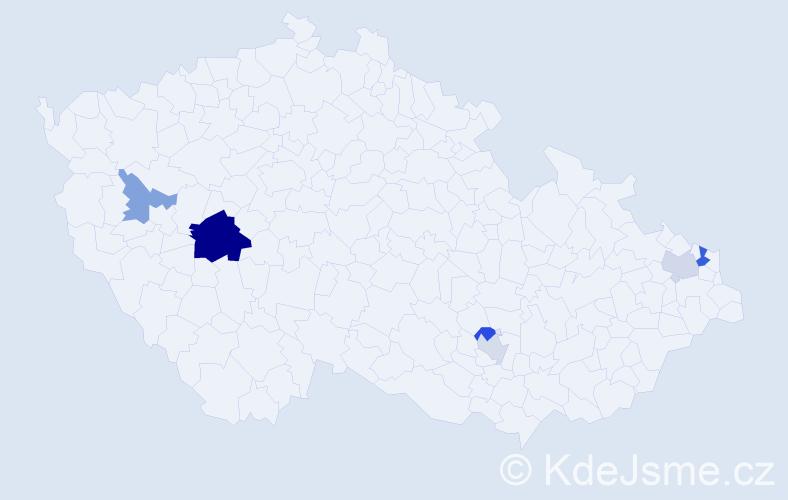 Příjmení: 'Čásar', počet výskytů 11 v celé ČR